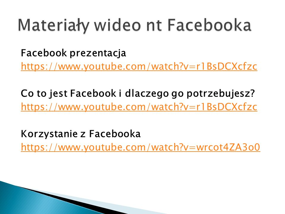 Materiały wideo nt Facebooka