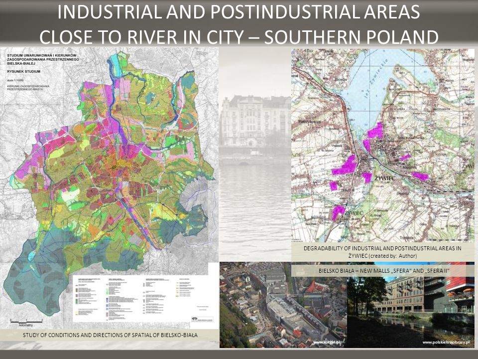 INDUSTRIAL AND POSTINDUSTRIAL AREAS CLOSE TO RIVER IN CITY – SOUTHERN POLAND