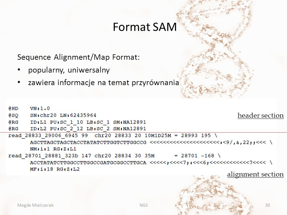 Format SAM Sequence Alignment/Map Format: popularny, uniwersalny