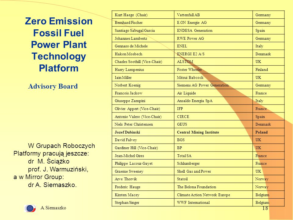 Zero Emission Fossil Fuel Power Plant Technology Platform
