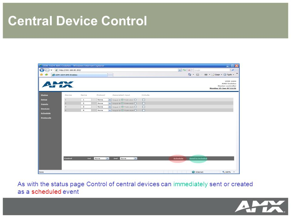 Central Device Control