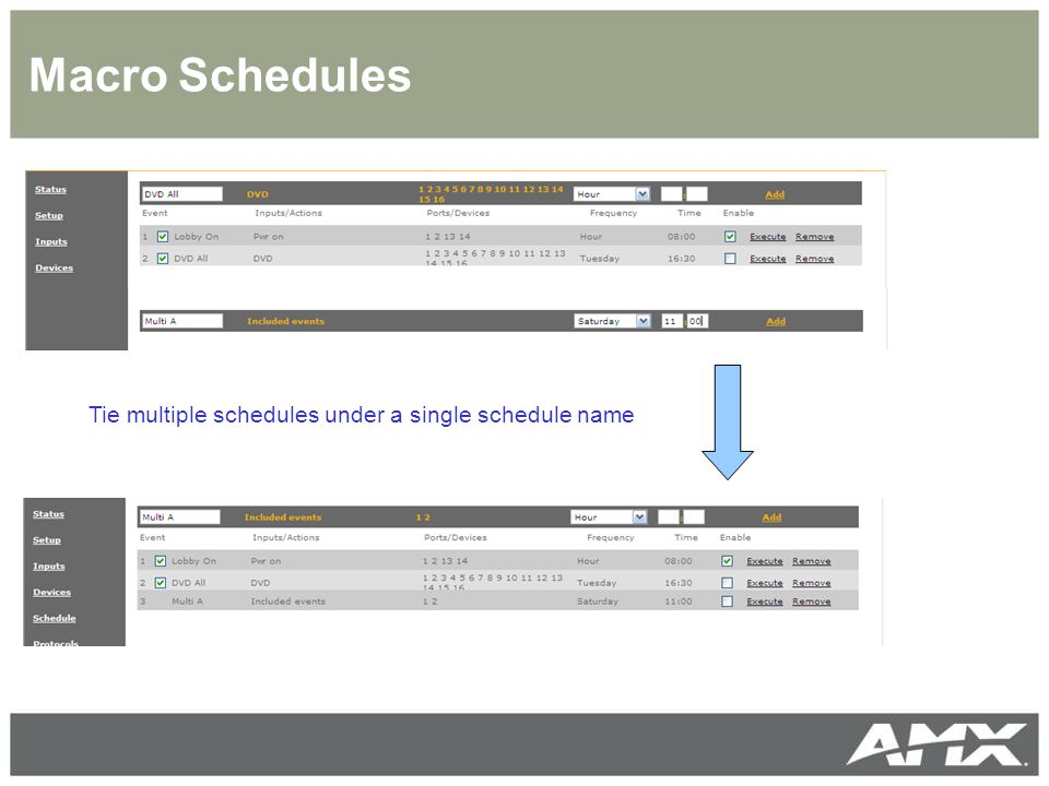Macro Schedules Tie multiple schedules under a single schedule name
