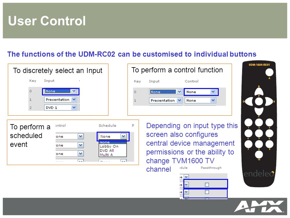 User Control The functions of the UDM-RC02 can be customised to individual buttons. To discretely select an Input.