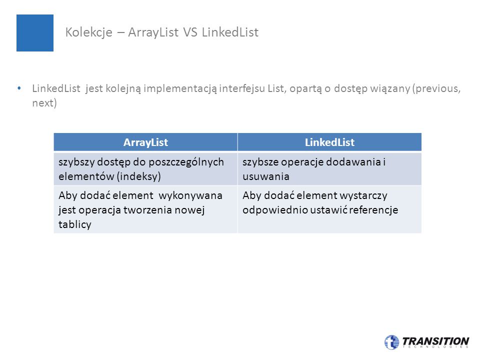 Kolekcje – ArrayList VS LinkedList