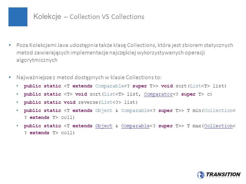 Kolekcje – Collection VS Collections