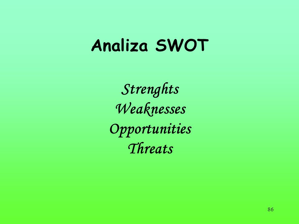Analiza SWOT Strenghts Weaknesses Opportunities Threats