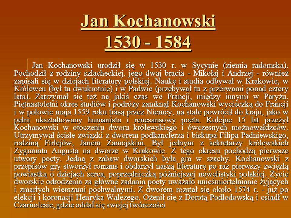 Jan Kochanowski Ppt Pobierz