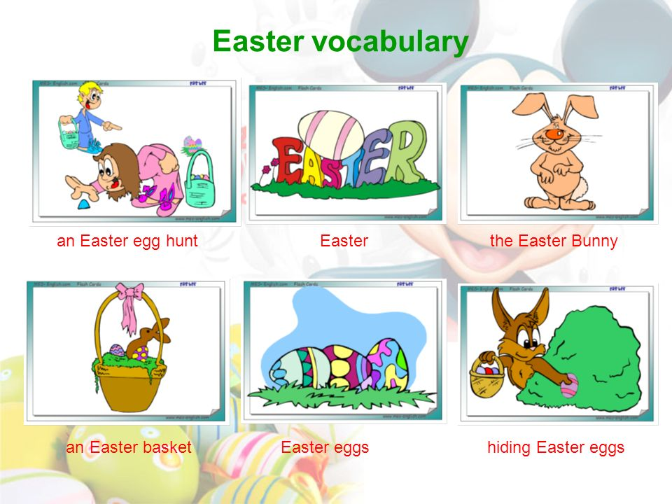 Easter vocabulary an Easter egg hunt Easter the Easter Bunny