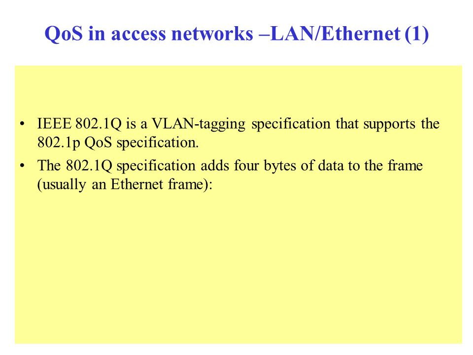 QoS in access networks –LAN/Ethernet (1)