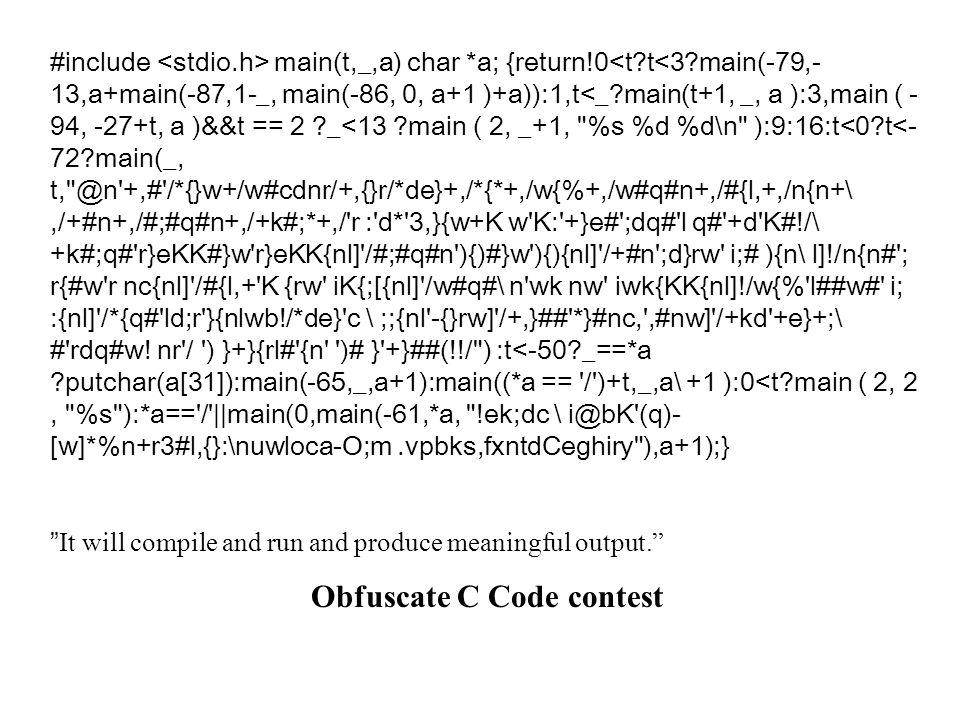 Obfuscate C Code contest