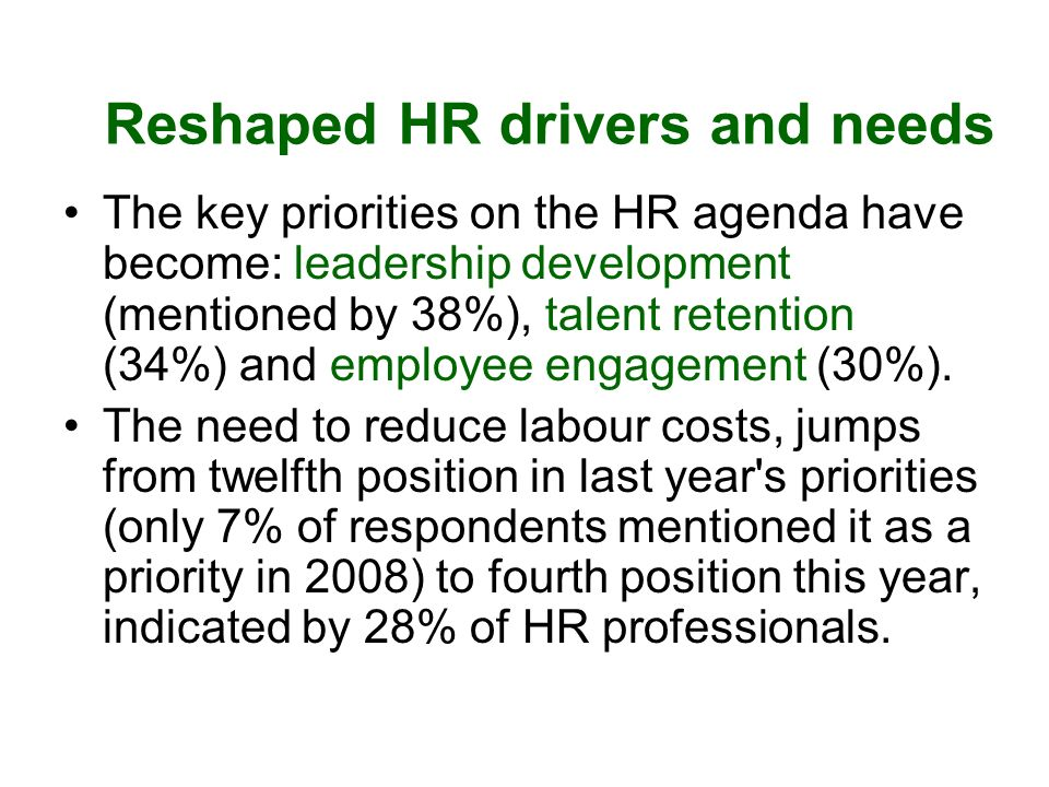 Reshaped HR drivers and needs