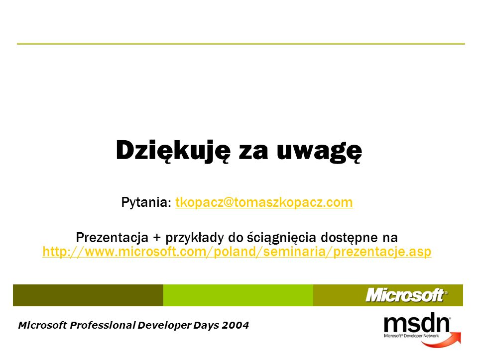 Microsoft Professional Developer Days 2004