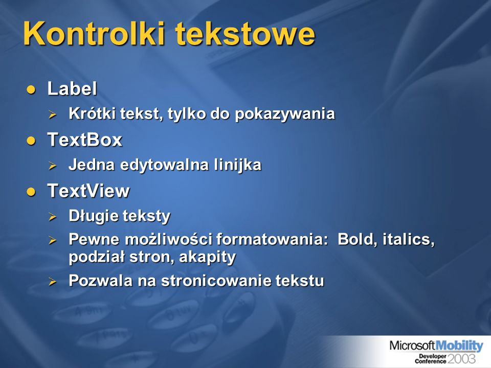 Kontrolki tekstowe Label TextBox TextView