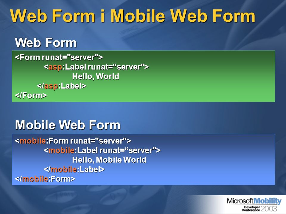 Web Form i Mobile Web Form