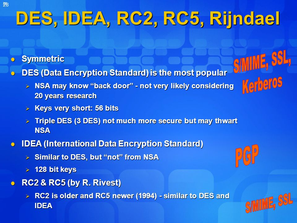 DES, IDEA, RC2, RC5, Rijndael S/MIME, SSL, Kerberos PGP S/MIME, SSL