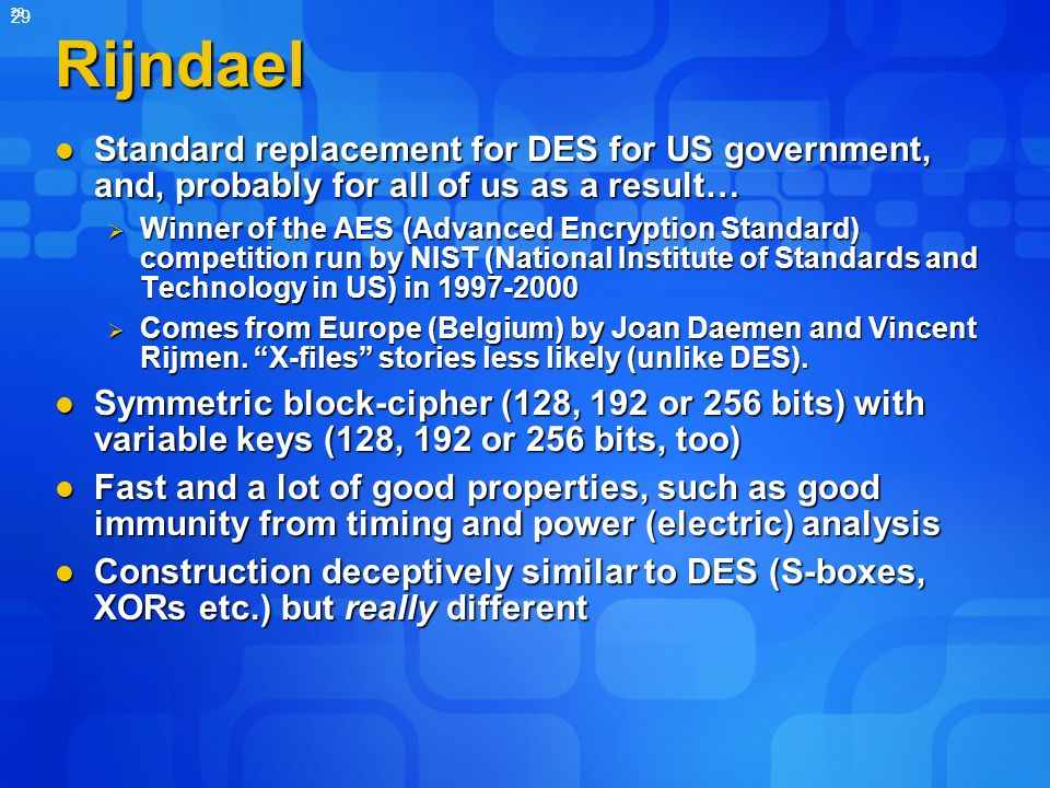 Rijndael Standard replacement for DES for US government, and, probably for all of us as a result…