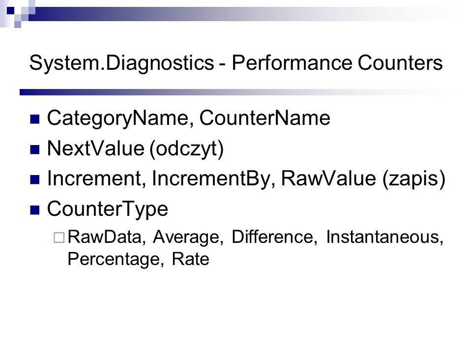 System.Diagnostics - Performance Counters