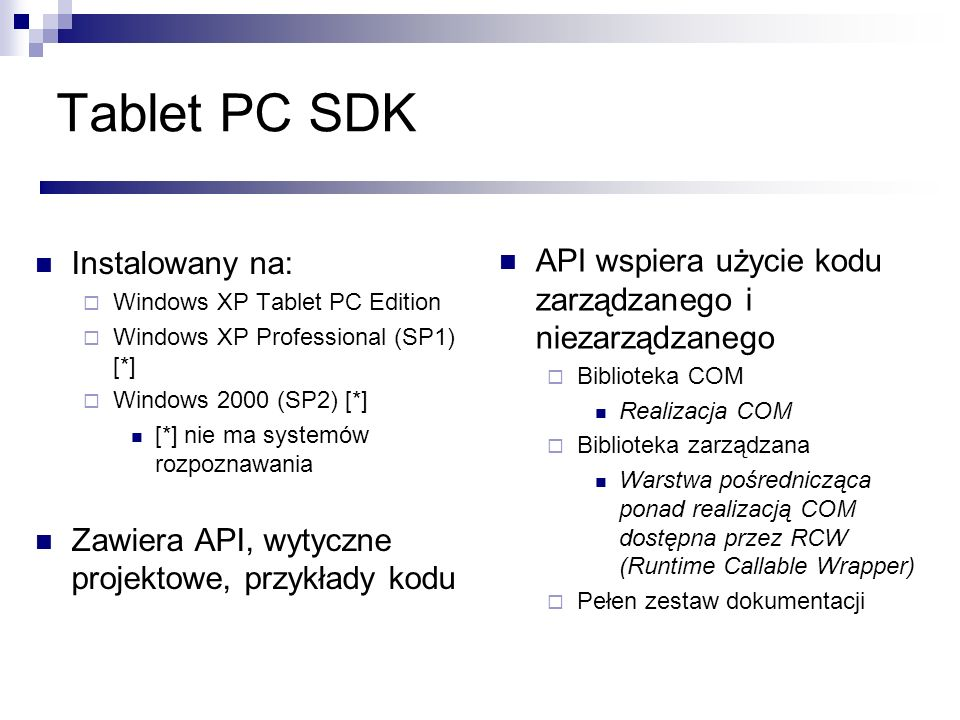 Tablet PC SDK Instalowany na: