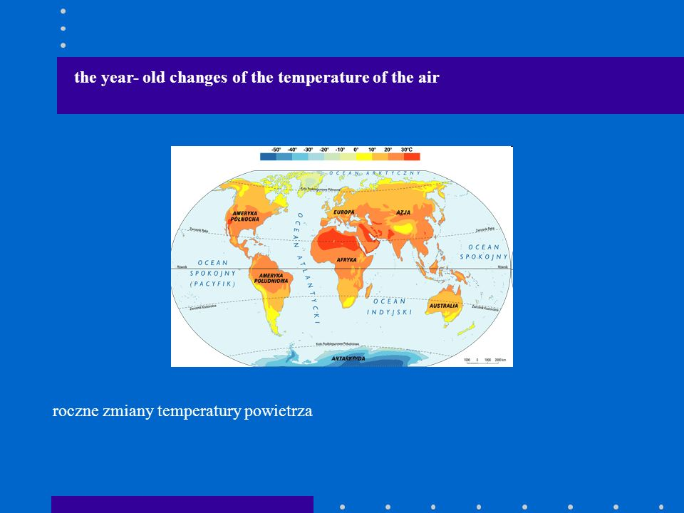 the year- old changes of the temperature of the air