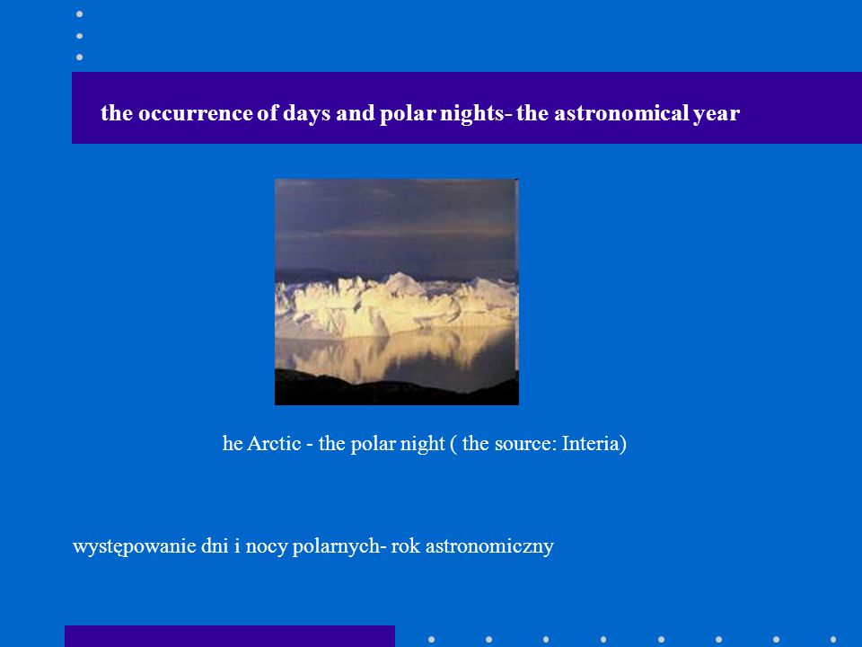 the occurrence of days and polar nights- the astronomical year