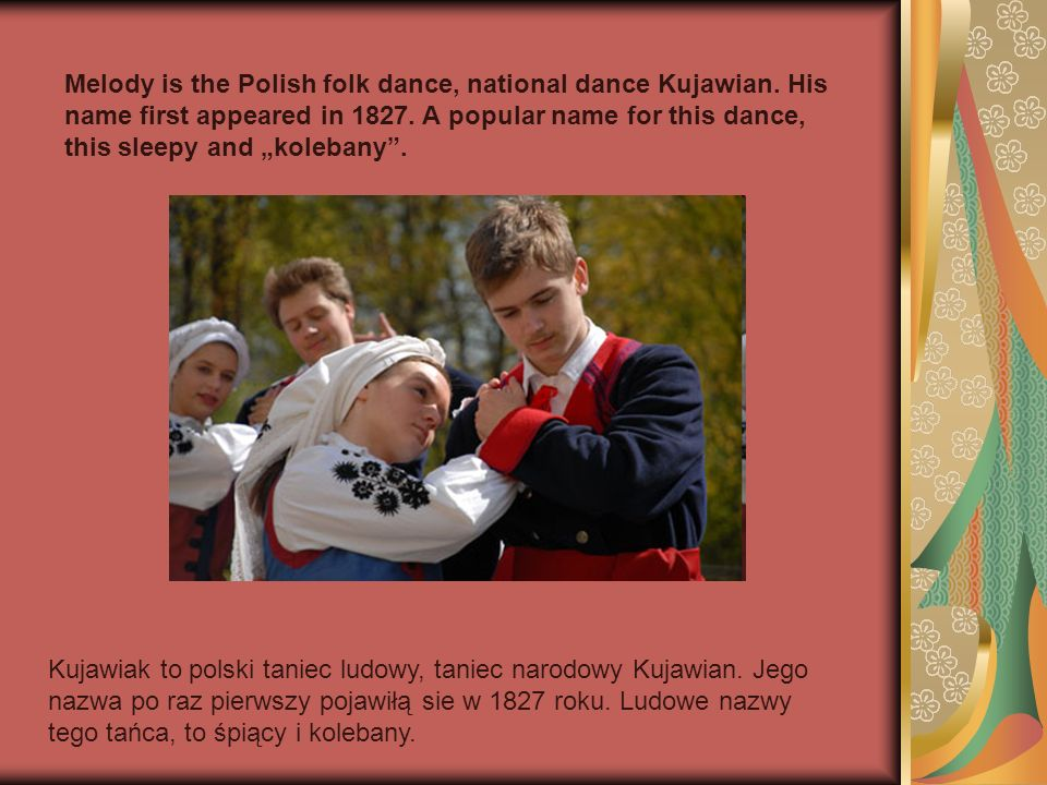 Melody is the Polish folk dance, national dance Kujawian
