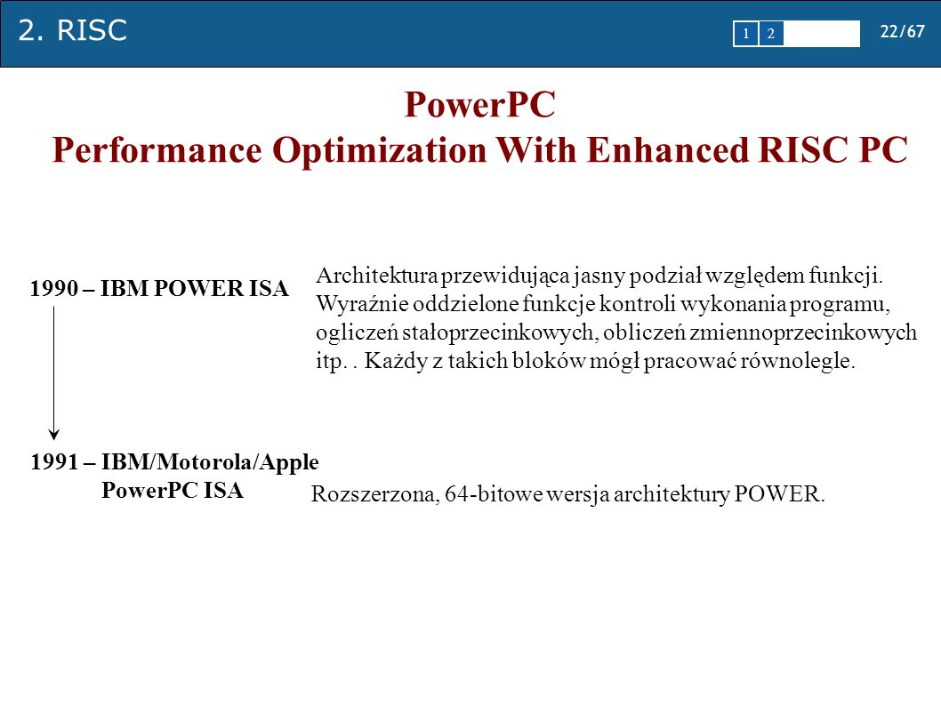 Performance Optimization With Enhanced RISC PC