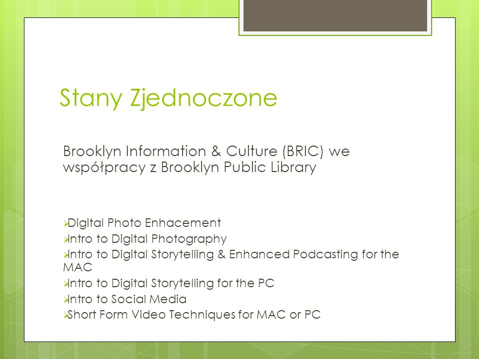 Stany Zjednoczone Brooklyn Information & Culture (BRIC) we współpracy z Brooklyn Public Library. Digital Photo Enhacement.