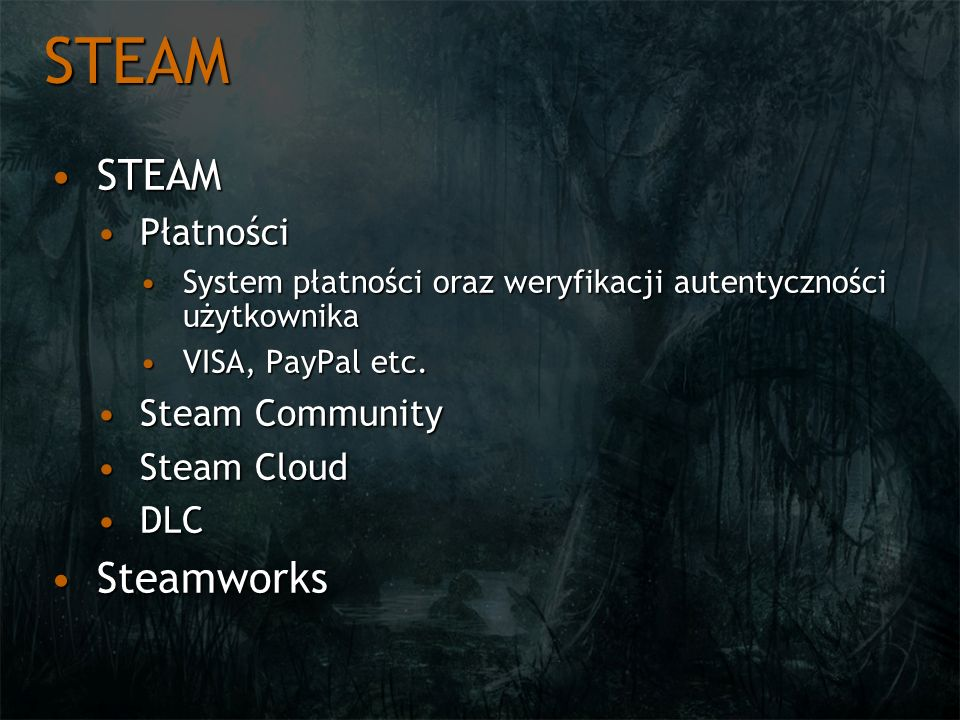 STEAM STEAM Steamworks Płatności Steam Community Steam Cloud DLC