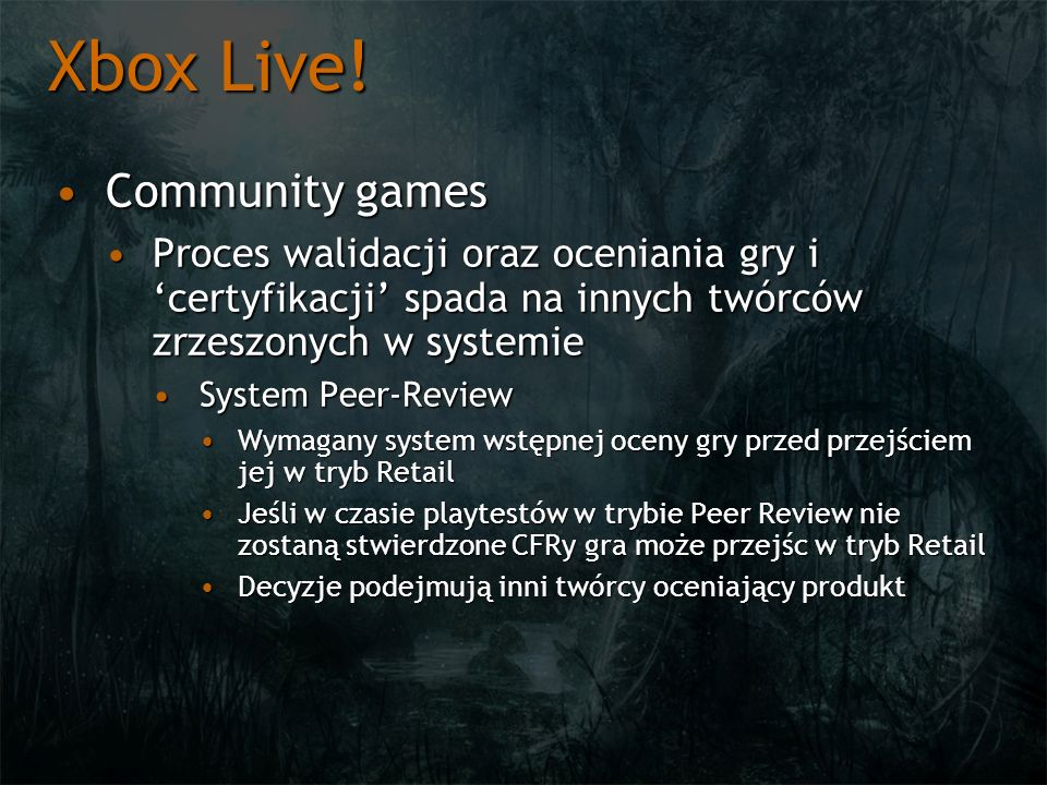Xbox Live! Community games