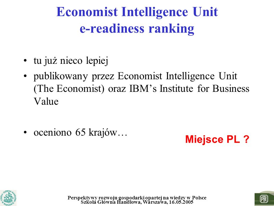 Economist Intelligence Unit e-readiness ranking