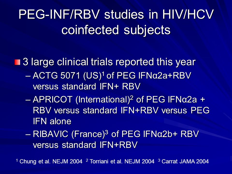 PEG-INF/RBV studies in HIV/HCV coinfected subjects