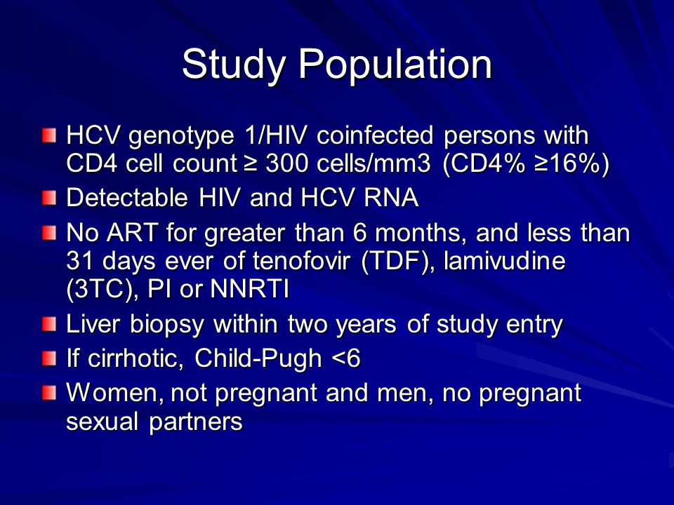 Study Population HCV genotype 1/HIV coinfected persons with CD4 cell count ≥ 300 cells/mm3 (CD4% ≥16%)