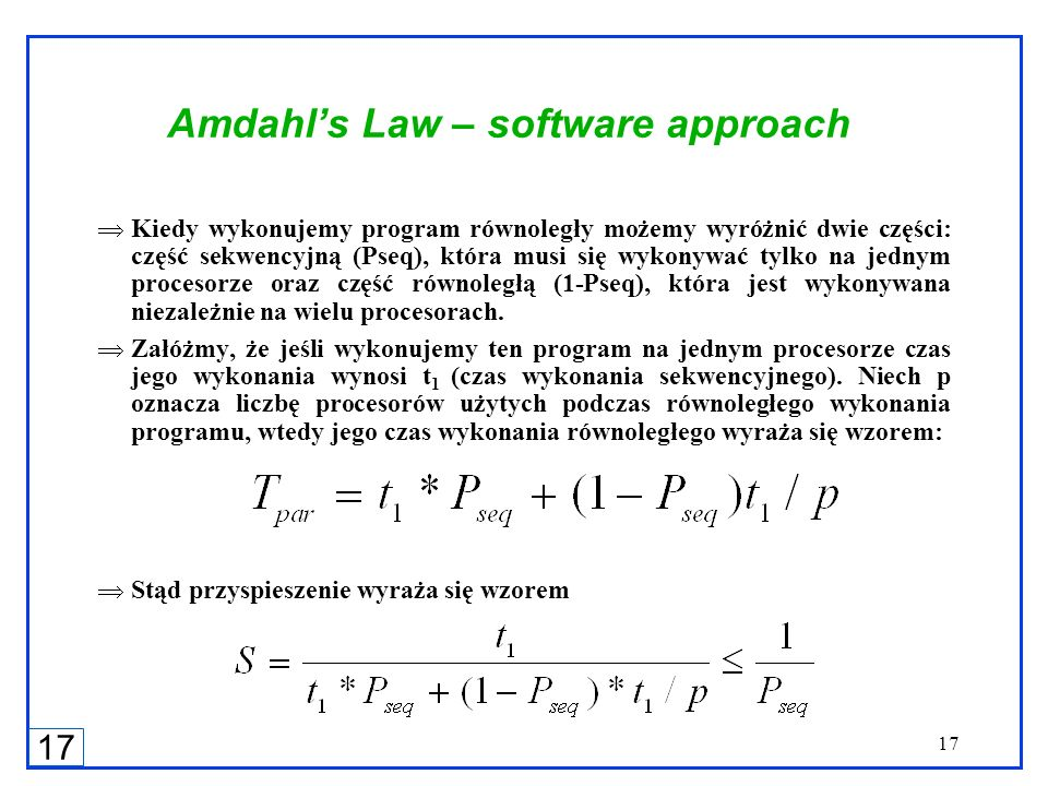 Amdahl's Law – software approach