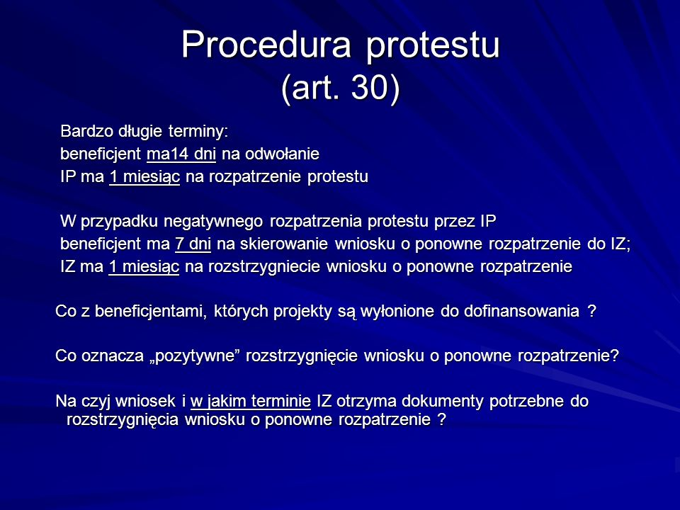 Procedura protestu (art. 30)