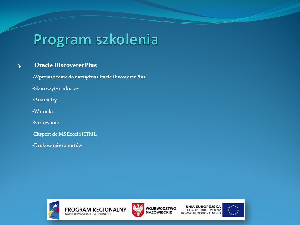 Program szkolenia Oracle Discoverer Plus