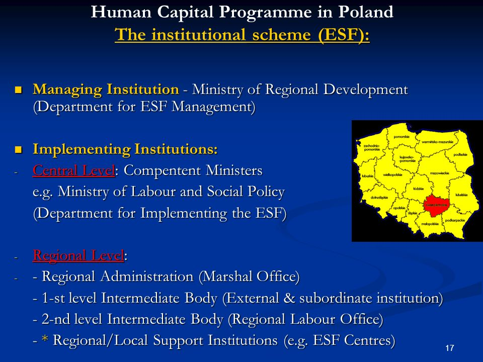 Human Capital Programme in Poland The institutional scheme (ESF):