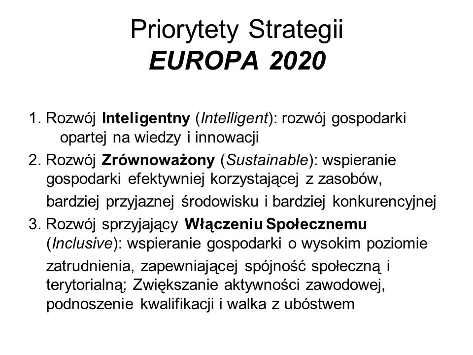Priorytety Strategii EUROPA 2020