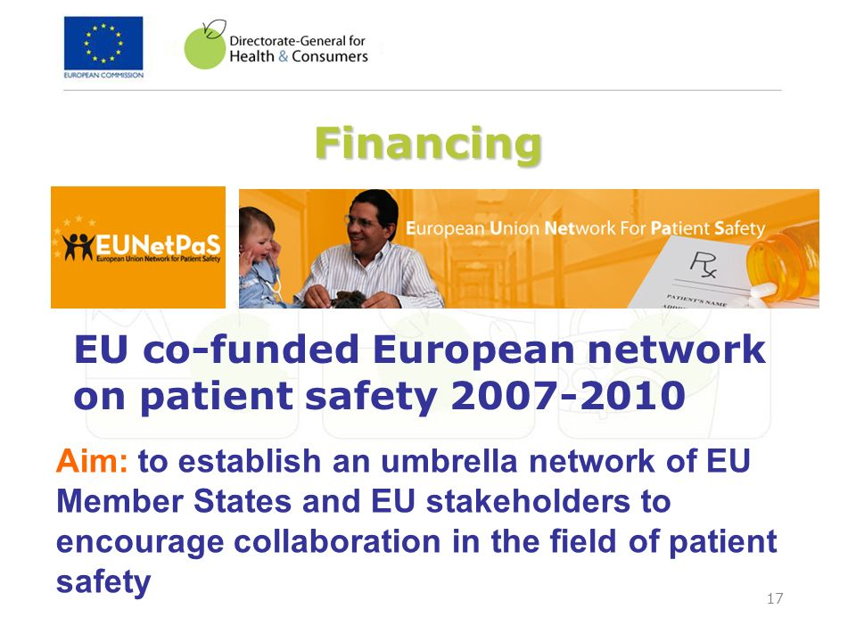 Financing EU co-funded European network on patient safety