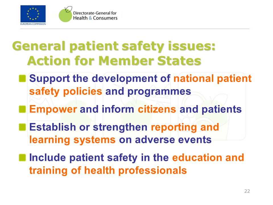 General patient safety issues: Action for Member States