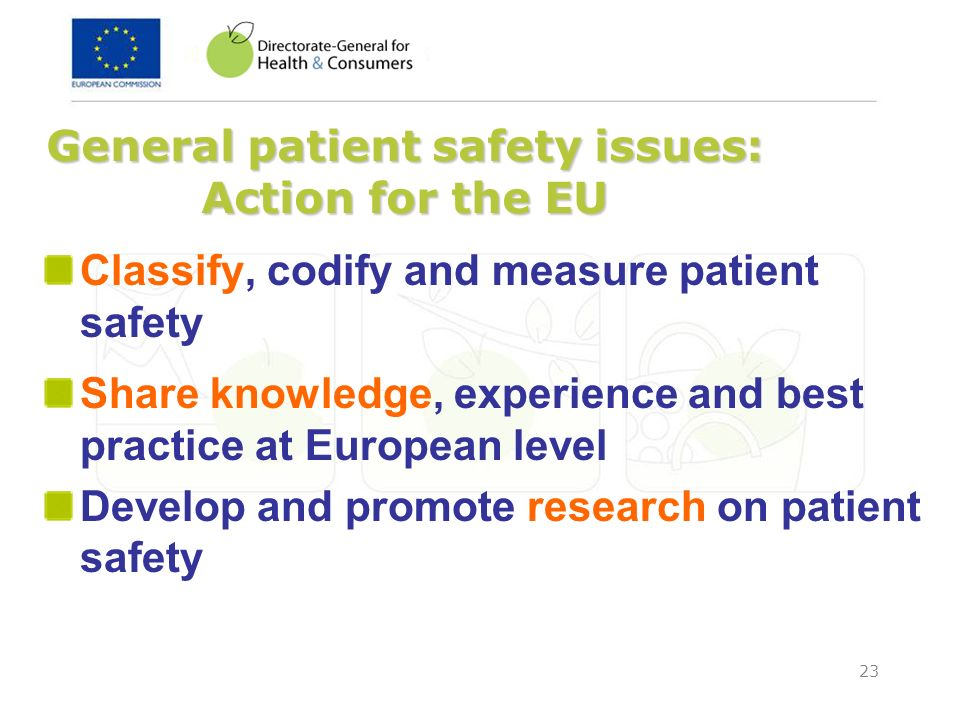 General patient safety issues: Action for the EU