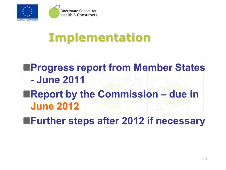 Implementation Progress report from Member States - June 2011