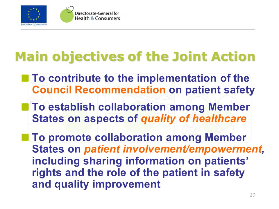 Main objectives of the Joint Action