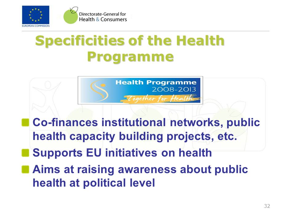 Specificities of the Health Programme
