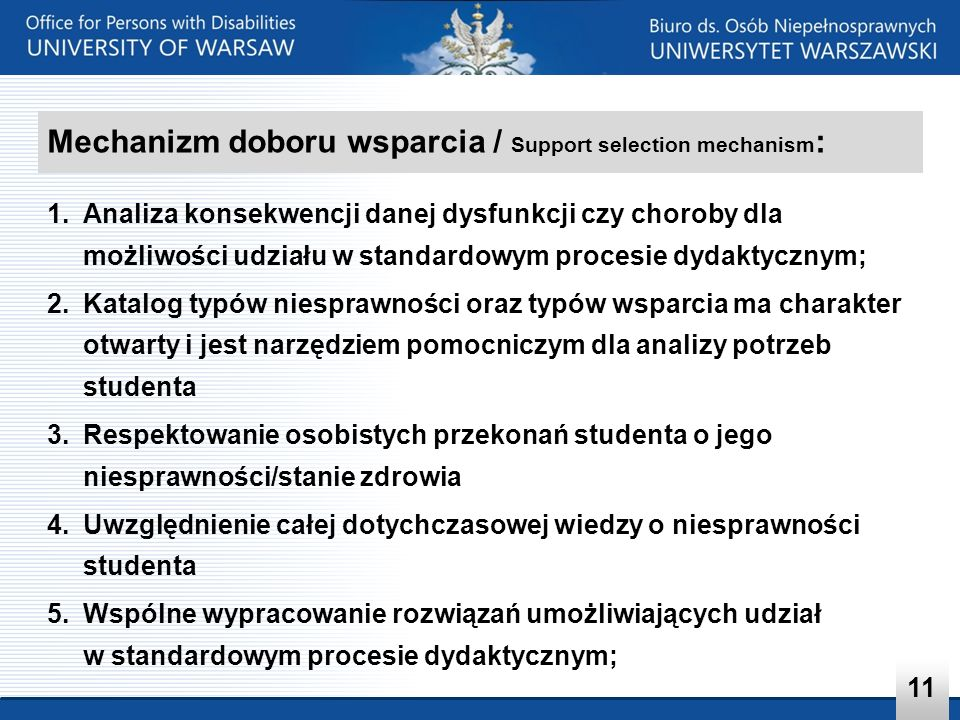 Mechanizm doboru wsparcia / Support selection mechanism: