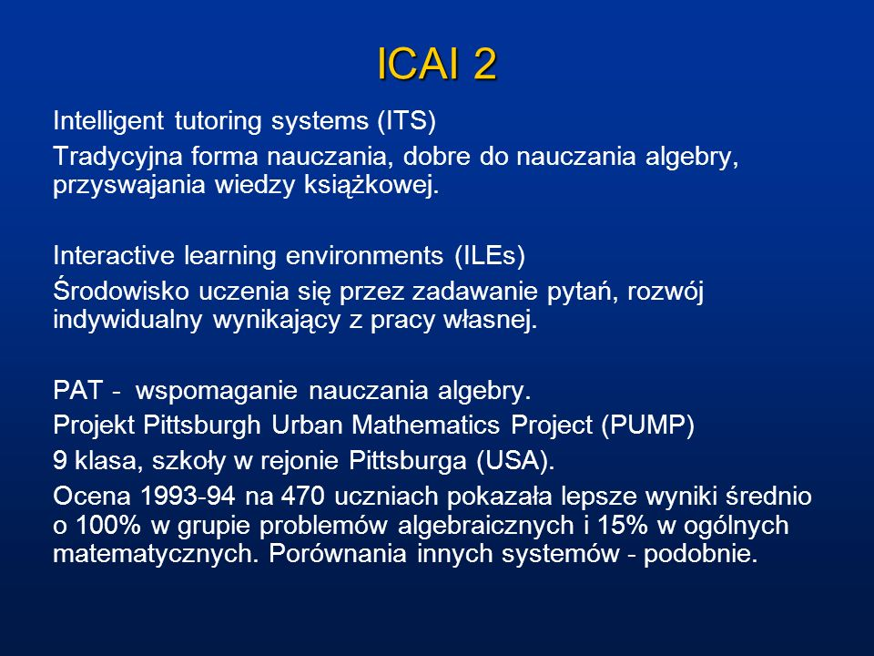 ICAI 2 Intelligent tutoring systems (ITS)