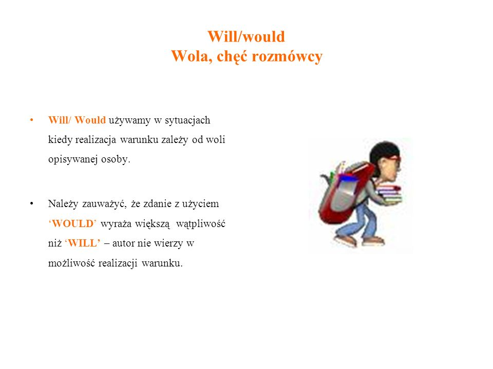 Will/would Wola, chęć rozmówcy