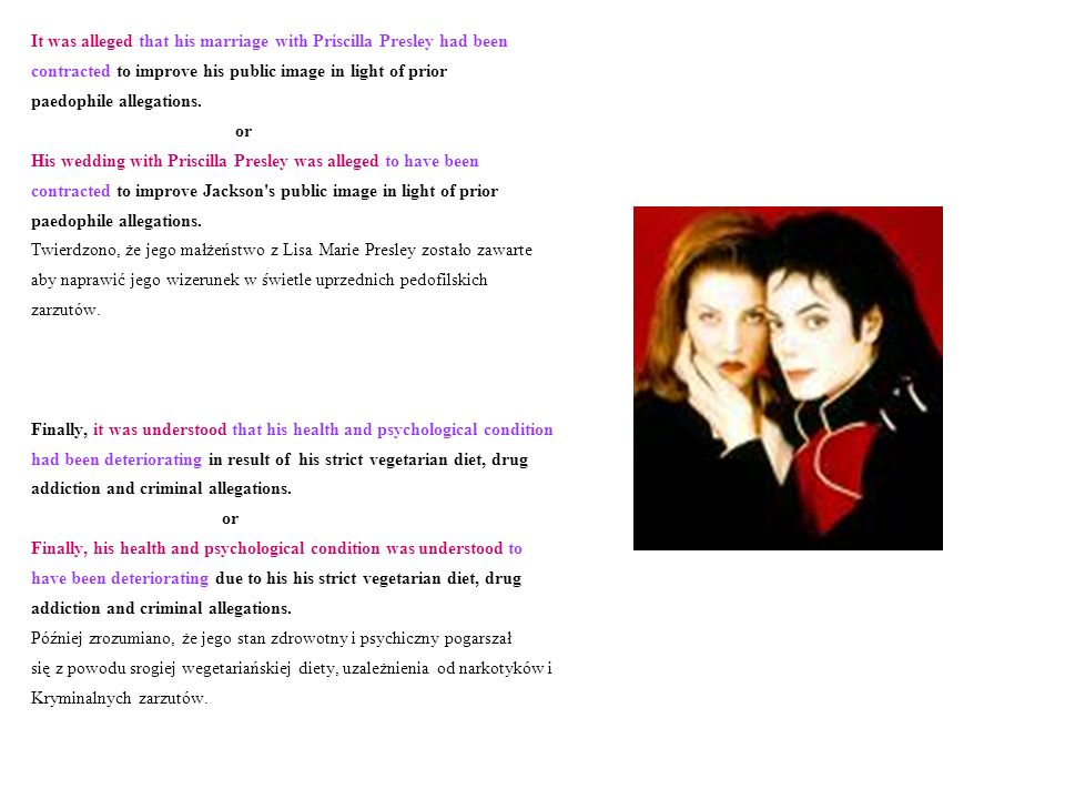 It was alleged that his marriage with Priscilla Presley had been