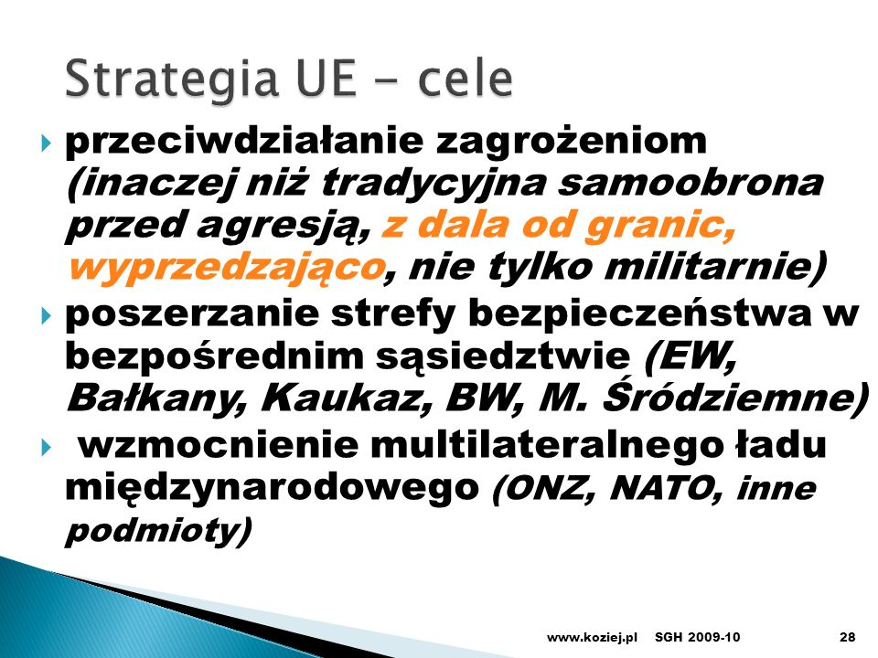 Strategia UE - cele