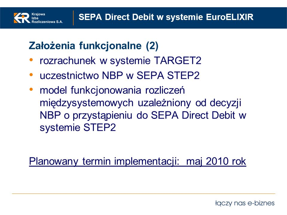 SEPA Direct Debit w systemie EuroELIXIR