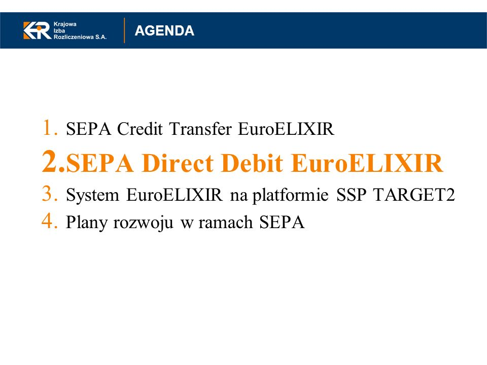 SEPA Direct Debit EuroELIXIR